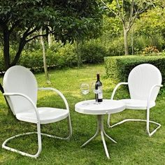 Griffith 3 Piece Metal Outdoor Conversation Seating Set in White .. and you don't have to sign up to see it