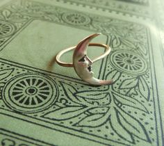 Brass Crescent Moon Ring on Antiqued Brass Band Art Nouveau Cute Jewelry, Jewelry Box, Jewelry Accessories, Fashion Accessories, Jewlery, Moon Jewelry, Gypsy Jewelry, Jewelry Design, Brass Band