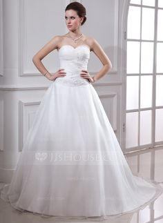 [US$ 181.99] Ball-Gown Sweetheart Chapel Train Satin Organza Wedding Dress With Ruffle Beading