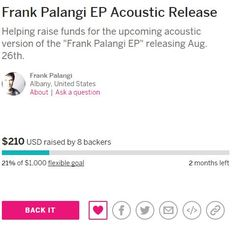 """The 1st weekend rocked as contributions came in for the upcoming """"Frank Palangi EP"""" acoustic version release on Indiegogo! I care about all of my fans and I'm blessed to see the support! Help be apart of this project and contribute today. Even just a $1 a person would help so much if we can get power in #'s! #crowdfunding #crowbacker #rockmusic #newmusic #acousticrelease #frankpalangi #contribute - type in the name of the release and you'll find it on Indiegogo"""