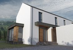 We have built many houses under planning NI getting planning permission and building control approval. Certified Passive house and zero carbon house Bungalow Haus Design, Modern Bungalow House, Rural House, House Designs Ireland, Narrow House Designs, Cool House Designs, Farmhouse Architecture, Vernacular Architecture, Modern Architecture House