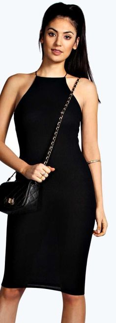 Strappy black cocktail dress