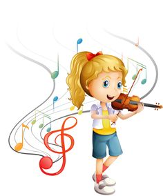 Buy Young Musician by interactimages on GraphicRiver. Illustration of a young musician on a white background Music Clipart, Cute Clipart, Music For Kids, Art For Kids, Adorable Petite Fille, School Clipart, Kinds Of Music, Music Notes, Fun Activities