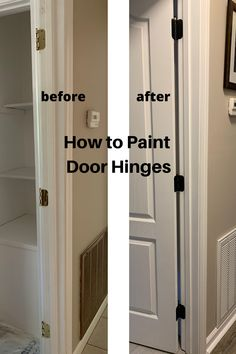 Do you need to update your door hinges? Do your door hinges look old and dingy? Here is an easy way to paint your door hinges to make them look clean and new . and you don't have to remove your doors. Painted Interior Doors, Black Interior Doors, Painted Doors, Painted Bedroom Doors, Farmhouse Interior Doors, Interior Door Hinges, Interior Door Colors, Interior Paint, Home Upgrades