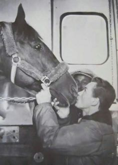 Secretariat - Big Red on his plane ride to retirement. saying goodbye to jockey Ron Turcotte . Horses And Dogs, Cute Horses, Beautiful Horses, Animals Beautiful, Animals And Pets, Horse Photos, Horse Pictures, Sport Of Kings, Thoroughbred Horse