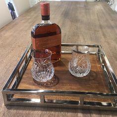 Serve that whiskey with elegance.  #godinger #aspenwoodtray #dublinglasses #dublin #dublinreserve #whiskey #whiskeyglass #whiskeylover #Bourbon #bourbonwhiskey #woodfordreserve #woodford #bars #nyc #bourbonlovers