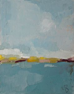 "Original Abstract Landscape Painting, Oil On Canvas ""Blue Sea Island"" by Michael Broad"