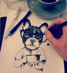 sketching , sketchbook , frenchie , french bulldog , puppy