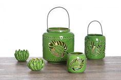 Suport lumanare Jungle, Ceramica, Ø19xH21 cm  #homedecor #interiordesign #inspiration #green #tropical Tropical, Jar, Interior Design, Floral, Green, Inspiration, Home Decor, Nest Design, Biblical Inspiration