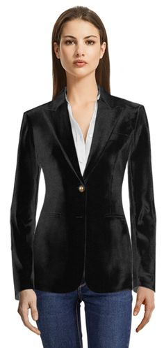 Black velvet made to measure blazer | Sumissura.com Blue Tuxedo Jacket, Black Tuxedo, Cropped Blazer, Casual Blazer, Design Your Shirt, Party Jackets, Blue Tuxedos, Black Velvet Blazer, Business Casual Dresses