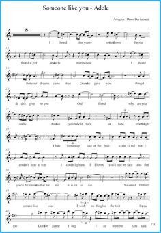 Free resources of Someone Like You Sheet Music that you can print for free. Use this sheet to learn and play someone like you music by Adele. You have to learn how to play her music properly. Piano Sheet Music Letters, Saxophone Sheet Music, Violin Music, Piano Songs, Drum Sheet Music, Music Theory Piano, Trumpet Sheet Music, Music Chords, Music Score