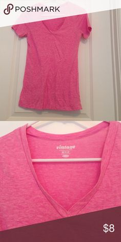 """Pink V-Neck Tee Old navy pink heathered color v-neck """"vintage"""" style tee. Comfy and barely worn! 🎉💁🏽💕 Old Navy Tops Tees - Short Sleeve"""