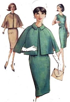1960s Mad Men Sleeveless Dress and Cape by retroactivefuture, $22.00