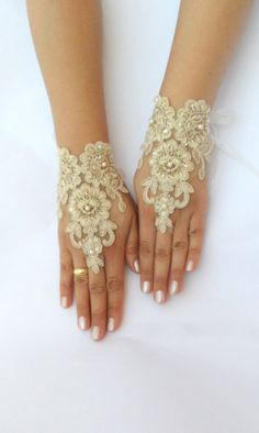 cappuccino Wedding gloves free ship bridal lace by WEDDINGHome, $30.00