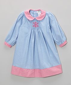 Look at this Blue Gingham Snowflake Smocked Dress - Infant