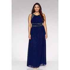 Get ready for your next big occasion in our stunning navy maxi dress. Featuring a keyhole opening and chic embellished detailing- pair with heels and accessories for a glam look. Navy Maxi, Debenhams, Chiffon, Formal Dresses, Chic, Heels, Accessories, Fashion, Elegant