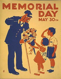 Poster honoring veterans shows a boy and an old soldier saluting each other and girl presenting the soldier with bouquet of flowers. It was created by the Federal Art Project in 1938.