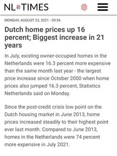 Price Increase, Last Month, Percents, House Prices, Home Buying, Amsterdam, Dutch, News, Dutch Language