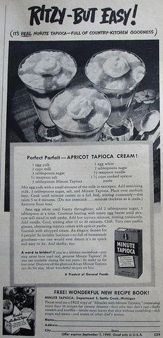 Minute Tapioca ad with Apricot Tapioca Cream recipe    Country Gentleman - February 1949