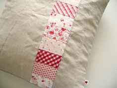 https://flic.kr/p/4Mg5qc | a simple cushion | of red+pink+white on linen ~ quilted