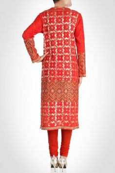 Red and gold geometrical churidar kurta