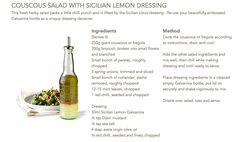 Couscous Salad with Sicilian Lemon Dressing #Galvanina #drink #recipe