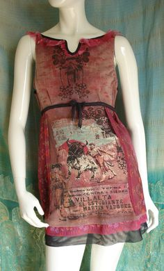 Altered couture tunic   wearable art mini dress Reconstructed vintage clothing Upcycled tshirt  refashioned  tunic. $54.00, via Etsy.