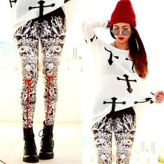 "Round Sunnies, Cross Jumper, Babillonia Leggings //""THE HUNGRY GHOST"" by Bernadette F // LOOKBOOK.nu"