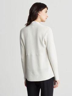 Shaped Cardigan in Silk and Organic Cotton Rib-F6OQS-K3224