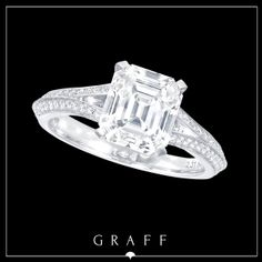 A 2.31ct Emerald Cut Diamond with Round Diamond Pavé Split Shank.  #graffdiamonds #graff #bridal #wedding #engagement #ring