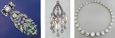 """Popular jewelry styles of the period were both elaborate and intricate, forming ornate arrangements such as 'chandelier' style earrings, rivière necklaces' with their """"flowing river"""" of diamonds, and multi-strand festoons or three-strand en esclavage necklaces' forming swagged concentric rings. In keeping with the excesses of the times, diamonds were a favorite gemstone of the early Georgian Era. Gemstones were used in ornate repoussé settings, forming a raised metal pattern by working from…"""