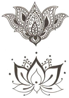lotus bohemian tattoo design for the back of the neck or on the wrist