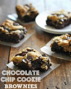 Chocolate Chip Cookie Brownies! Melt in your mouth gooeyness. Who can resist that? #dessert #recipes #sugar #recipe #delicious