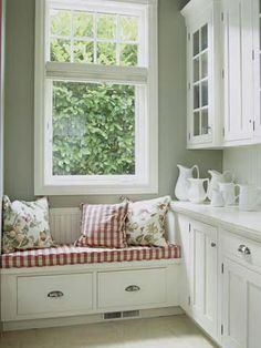 Window Seat Ideas Add a soft touch to a storage area off the kitchen with an upholstered cushion on a bench. A window seat is a great way to add a punch of color to a mostly white space. West end of kitchen with cabinets all the way down. Window Seat Kitchen, Window Benches, Kitchen Corner, Country Kitchen, Home Kitchens, Beach Cottage Kitchens, Modern Furniture, Furniture Design, Kitchen Decor