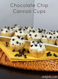 Chocolate Chip Cannoli Cups » Emily Bites. Ingredients: Frozen mini phyllo shells, Marscapone cheese, ff Ricotta, powdered sugar, vanilla, cinnamon, mini chocolate chips