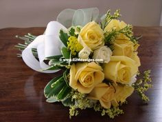 Hand-tied bouquet - yellow flowers. Designed by: Christine McCaffery http://c2mdesigns.com