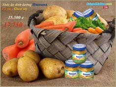 Thức ăn dinh dưỡng chế biến sẵn Humana cà rốt-khoai tây (125g).Thành phần cấu tạo: cà rốt, khoai tây, nước. GIÁ: 39.500 Đ .