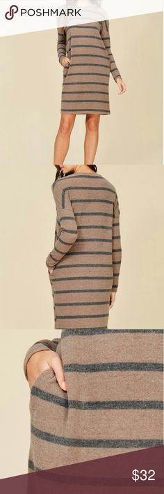 """STRIPE LONG SLEEVE DRESS KNIT DRESS FEATURING CASHMERE, TEXTURE, LOOSE, RELAXED, SOFT AND SNUG. YOU WILL LOVE IT. 69%RAYON 26%POLY 5%SPDX...MADE IN USA... S: LENGTH 36"""" M-L: LENGHT 37"""" (If you are between sizes I recommend go with the smaller one) Dresses Midi"""
