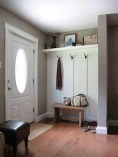 Board and batten entry – remove closet to create a more open feel. by MERR Board and batten entry – remove closet to create a more open feel. by MERR Pin: 300 x 400 Entry Closet, Front Closet, Garage Entry, Front Entry, Closet Doors, Front Doors, Front Porch, Decoration Entree, Boho Home