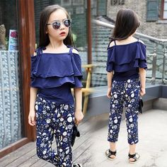 Summer Girls Clothing Sets Baby Teenage Kids Ruffles Off Shoulder Short Sleeve Shirt+Floral Print Long Pant 2Pc Suit  #Affiliate