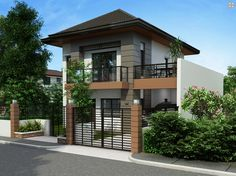 Two Storey House Plan with Balcony - Pinoy House Plans Zen House Design, Two Story House Design, 2 Storey House Design, Simple House Design, Bungalow House Design, Small Bungalow, Home Design, Two Storey House Plans, Double Storey House