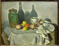 Still Life with Fruit and Crockery, Paul Cezanne Paul Cezanne, Cezanne Art, Aix En Provence, Cezanne Still Life, Still Life Artists, Most Famous Paintings, Still Life Oil Painting, Art Reproductions, Art And Architecture