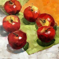 "Daily Paintworks - ""apples"" - Original Fine Art for Sale - © Ans Debije Apple Painting, Red Apple, Fine Art Gallery, Art For Sale, Still Life, Apples, Paintings, Fruit, Vegetables"