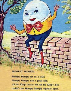 Brightly Cute Humpty Dumpty Vintage Illustration