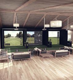 The Best Golf Simulator for your home or business. A complete Indoor Golf Simulator Solution with Putting and Impact Location, works indoor and outdoor. Home Golf Simulator, Indoor Golf Simulator, Interior Design Classes, Home Room Design, Golf Bar, Golf Pro Shop, Pool Table Room, Golf Room, Golf Simulators