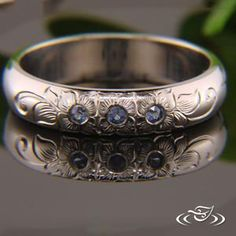 3 SAPPHIRE BAND WITH FLOWERS #GreenLakeJewelry