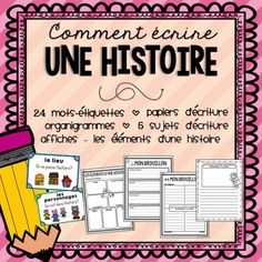 FRENCH Story Writing - includes a variety of graphic organizers, writing prompts, and more! French Teaching Resources, Teaching French, Teaching Activities, Teaching Writing, Teaching Ideas, Paragraph Writing, Narrative Writing, Writing Prompts, French Education