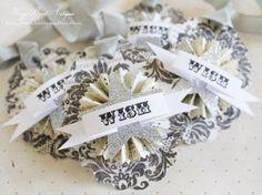 WISH Birthday Wedding Gift Tags Card Vintage Paper Rosette Glitter Star by HoggBarnAntiques, $6.00