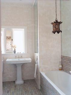 """Stucco lustro"" plaster walls; glazed hand-made Moroccan tiles; Sarah Davison"