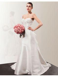 Organza Sweetheart Hand-Beaded Bodice A-line Wedding Dress